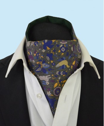 Silk Cravat with Whimsical Secret Garden Design in Light Green, Gold and Purple on a Green Background