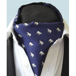 Fine Silk Lucky Elephant Pattern Cravat in Navy and White