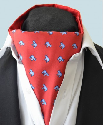 Fine Silk Lucky Elephant Pattern Cravat in Red and Light Blue