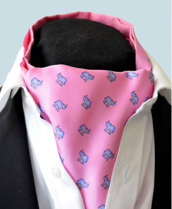 Fine Silk Lucky Elephant Pattern Cravat in Pink and Light Blue