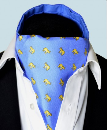 Fine Silk Lucky Elephant Pattern Cravat in Light Blue and Yellow