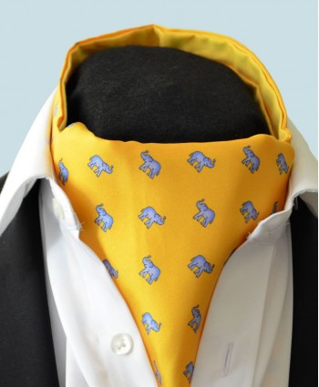 Fine Silk Lucky Elephant Pattern Cravat in Yellow and Light Blue