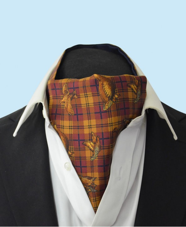 Silk Cravat with Bronze Grouse Town and Country Style on a Rusty Red Background