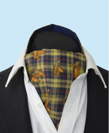 Silk Cravat with Dark Golden Grouse Town and Country Style on a Gold and Navy Background