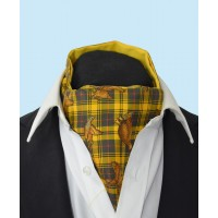 Silk Cravat with Golden Grouse Town and Country Style on a Sunny Yellow Background