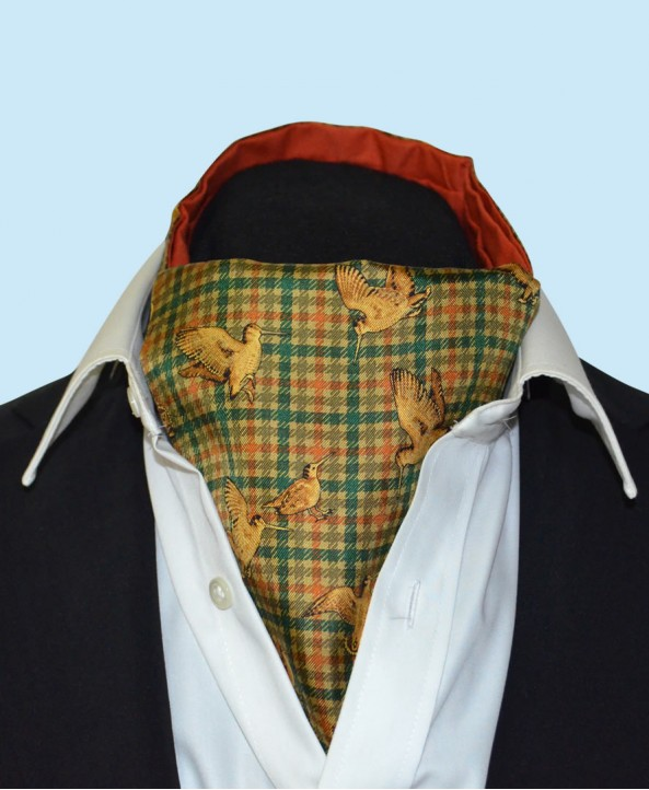Silk Cravat in Fine Checkered Green Background  with Gold Woodcocks