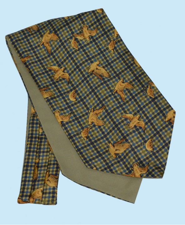 Silk Cravat in Fine Checkered Navy Background with Gold Woodcocks