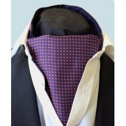 Fine Silk Paisley Pine Grid Pattern Cravat in Navy