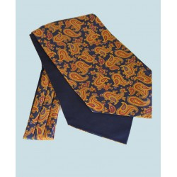 Fine Silk Majestic Madder Paisley Pattern Cravat in Navy