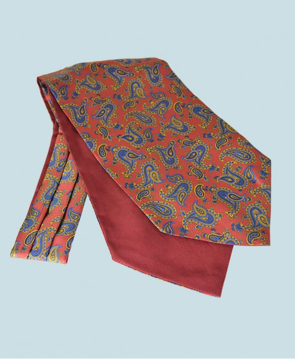 Fine Silk Majestic Madder Paisley Pattern in Bright Red