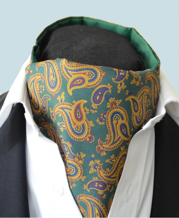 Fine Silk Majestic Madder Paisley Pattern Cravat in Green