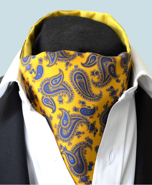 Fine Silk Majestic Madder Paisley Pattern Cravat in Yellow