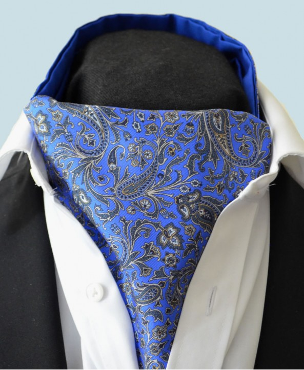Fine Silk Chinese Dragon Paisley Pattern Cravat in Sky Blue