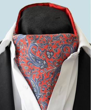 Fine Silk Chinese Dragon Paisley Pattern Cravat in Red