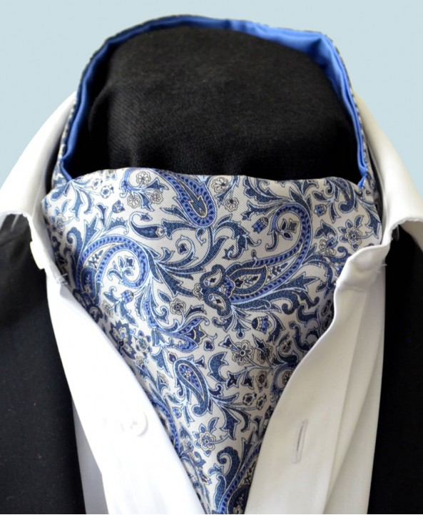 Fine Silk Chinese Dragon Paisley Pattern Cravat in Light Grey