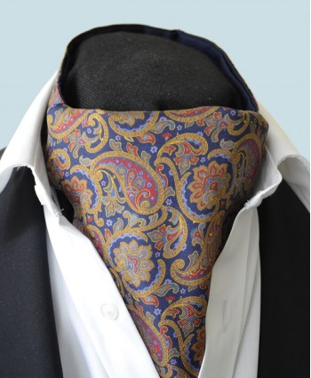 Fine Silk Days of Gold Pattern Cravat in Navy