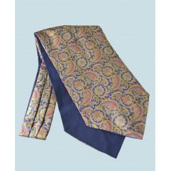 Fine Silk Days of Gold Pattern Cravat in Navy