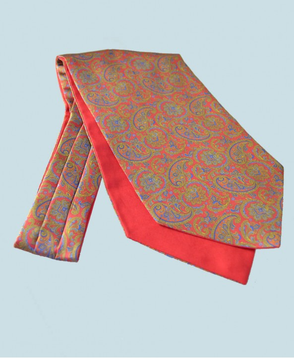 Fine Silk Days of Gold Pattern Cravat in Claret Red