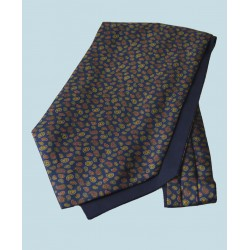 Fine Silk Mini & Micro Paisley Pine Pattern Cravat in Navy