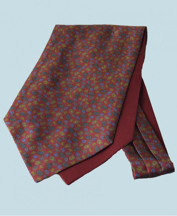 Fine Silk Mini & Micro Paisley Pine Pattern Cravat in Red