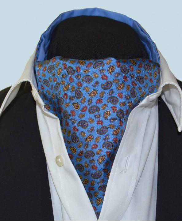 Fine Silk Mini & Micro Paisley Pine Pattern Cravat in Blue