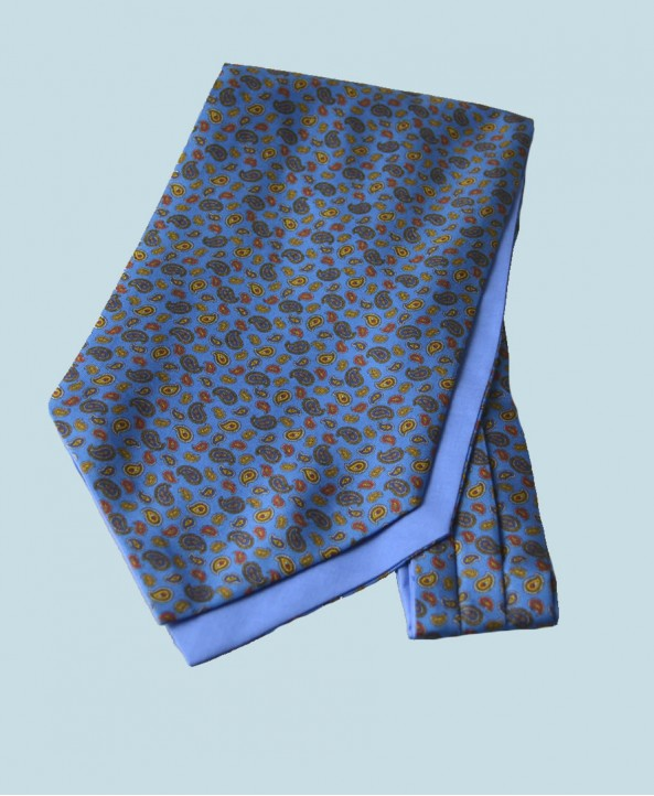 Fine Silk Mini & Micro Paisley Pine Pattern Cravat in Blue
