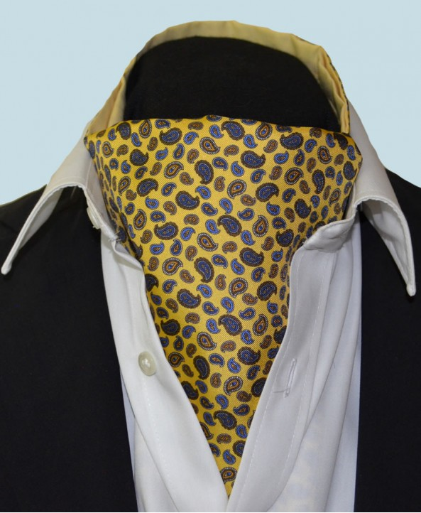Fine Silk Mini & Micro Paisley Pine Pattern Cravat in Light Gold