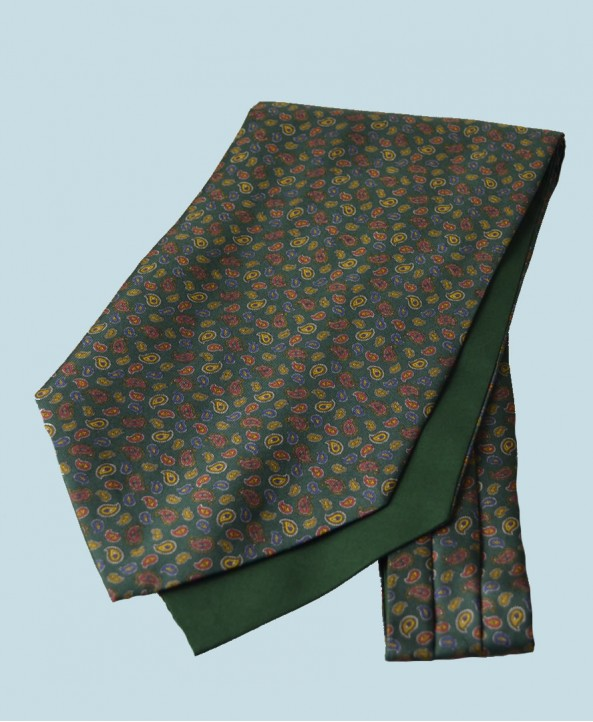 Fine Silk Mini & Micro Paisley Pine Pattern Cravat in Green