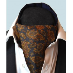 Fine Silk Burmese Coronet Pattern Cravat in Navy