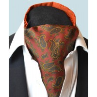 Fine Silk Burmese Coronet Pattern Cravat in Red