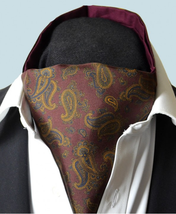 Fine Silk Burmese Coronet Pattern Cravat in Wine