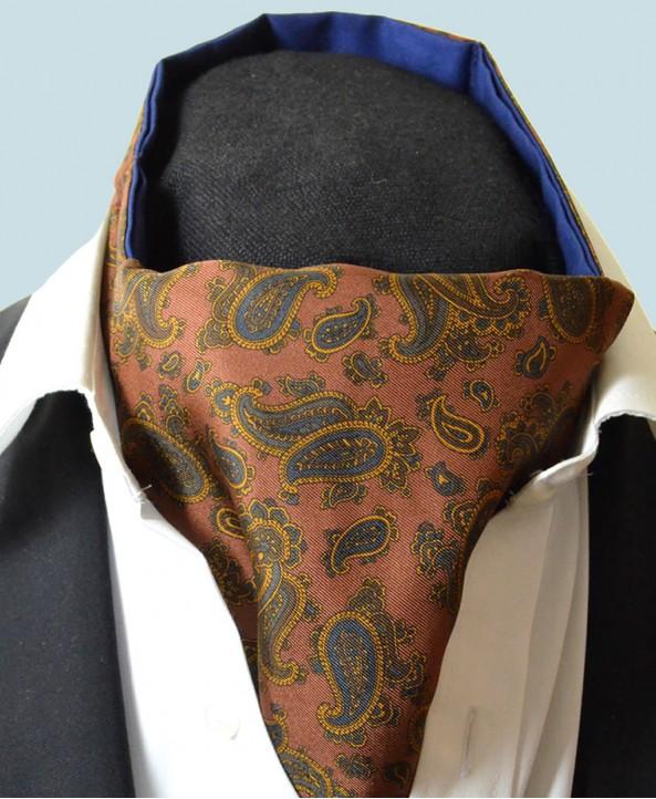 Fine Silk Burmese Coronet Pattern Cravat in Bronze