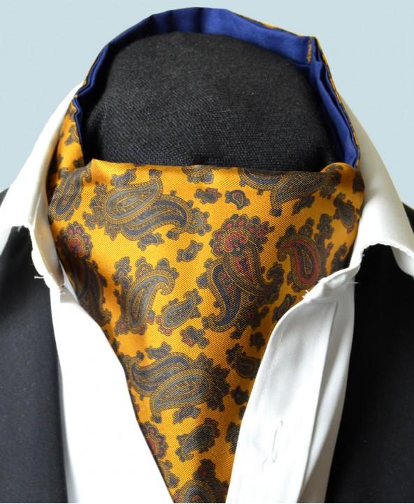 Fine Silk Burmese Coronet Pattern Cravat in Gold