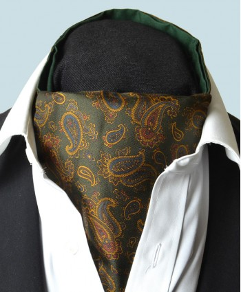 Fine Silk Burmese Coronet Pattern Cravat in Green