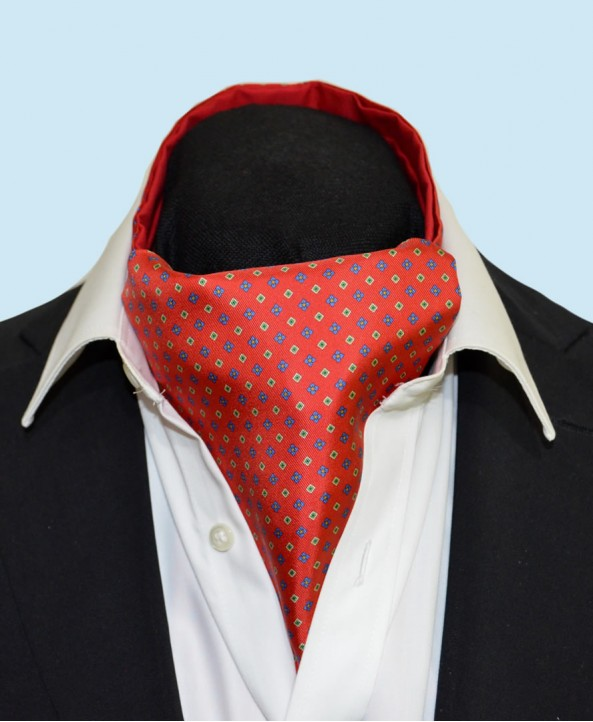 Fine Silk Florette Diamond Neat Pattern Cravat in Red