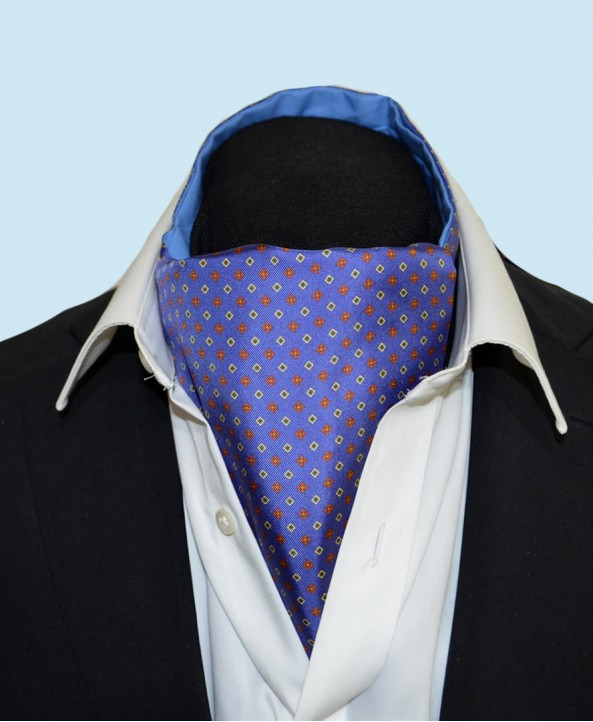 Fine Silk Florette Diamond Neat Pattern Cravat in Mid Blue