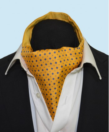 Fine Silk Florette Diamond Neat Pattern Cravat in Yellow