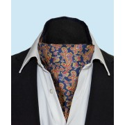 Fine Silk Dynamic Dancing Paisley Pattern Cravat in Navy