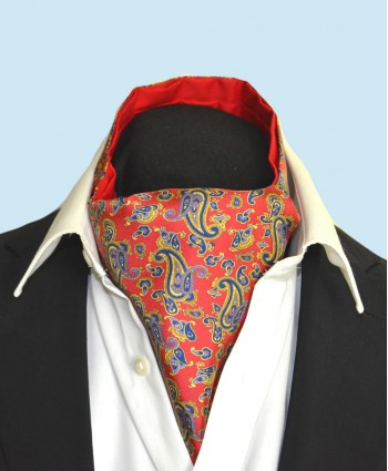 Fine Silk Dynamic Dancing Paisley Pattern Cravat in Red