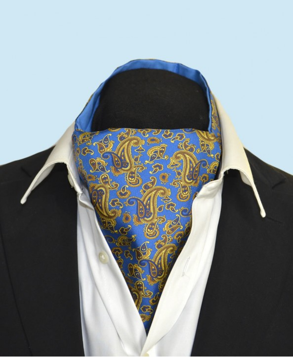 Fine Silk Dynamic Dancing Paisley Pattern Cravat in Mid Blue