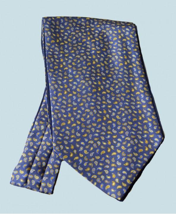 Fine Silk Pine Pemutations Paisley Pattern Cravat in Navy