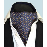 Fine Silk Pine Pemutations Paisley Pattern Cravat in Navy