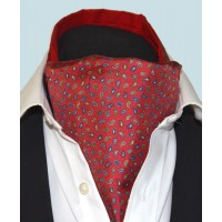 Fine Silk Pine Permutations Paisley Pattern Cravat in Red