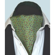 Fine Silk Pine Permutations Paisley Pattern Cravat in Green