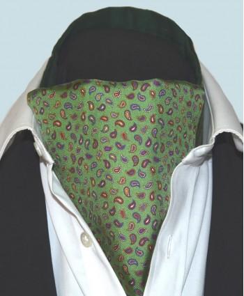 Fine Silk Pine Permutations Paisley Pattern Cravat in Green