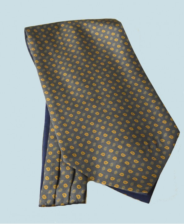 Fine Silk Madder Flame Paisley Pattern Cravat in Dark Navy