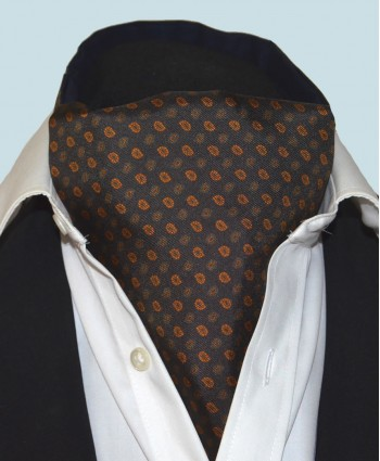 Fine Silk Madder Flame Paisley Pattern Cravat in Dark Navy