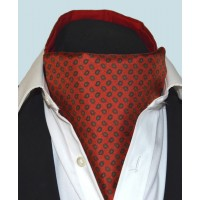 Fine Silk Madder Flame Paisley Pattern Cravat in Warm Red