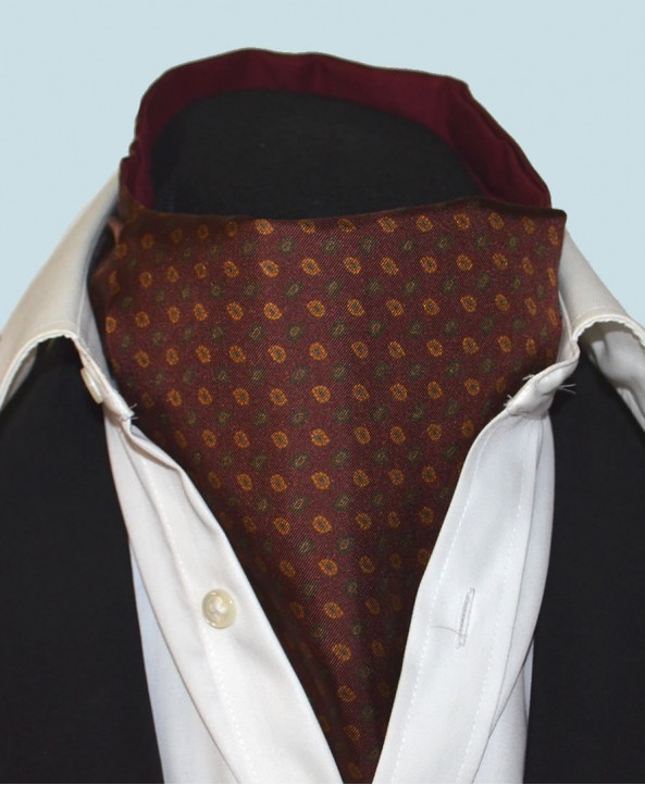 Fine Silk Madder Flame Paisley Pattern Cravat in Wine Red