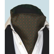 Fine Silk Madder Flame Paisley Pattern Cravat in Bottle Green